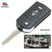 KEYECU Vervanging Flip Afstandsbediening Autosleutelzakje 3 Knop 433 MHz 4D63 voor Mazda 2/3/5/6/MX5/CX7 (SKE126-01)