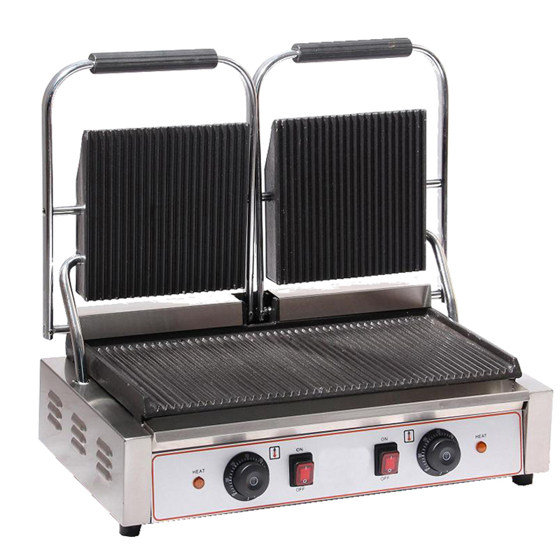 Double Plates Commercial Sandwich Press Contact Grill