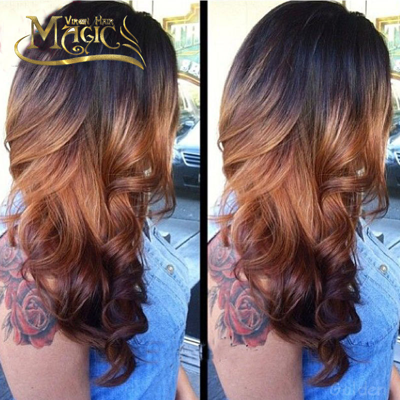 Full Lace Ombre Human Hair Wigs With Bleached Knots Three ...
