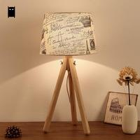 Wood Fabric Shade 3 Legs Table Lamp Fixture Modern Nordic Scandinavian Desk Light Abajour Night Stand Luminaria Bedroom Bedside