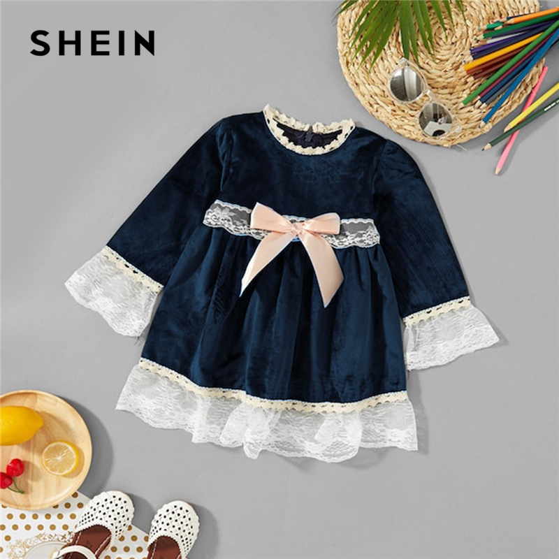 SHEIN Navy Bow High Waist Elegant Lace Velvet Girls Dress 2019 Spring Long Sleeve Mini Dress A Line Kids Dresses For girls beige floral lace stitching round neck short sleeves chiffon mini dress