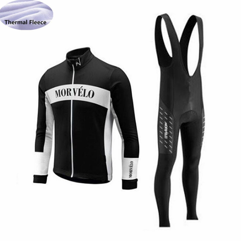 Winter Fleece Thermal Men Cycling Jersey Set Morvelo Team Long Sleeves Cycling Clothing Wear Bib Pants Maillot Ropa Ciclismo