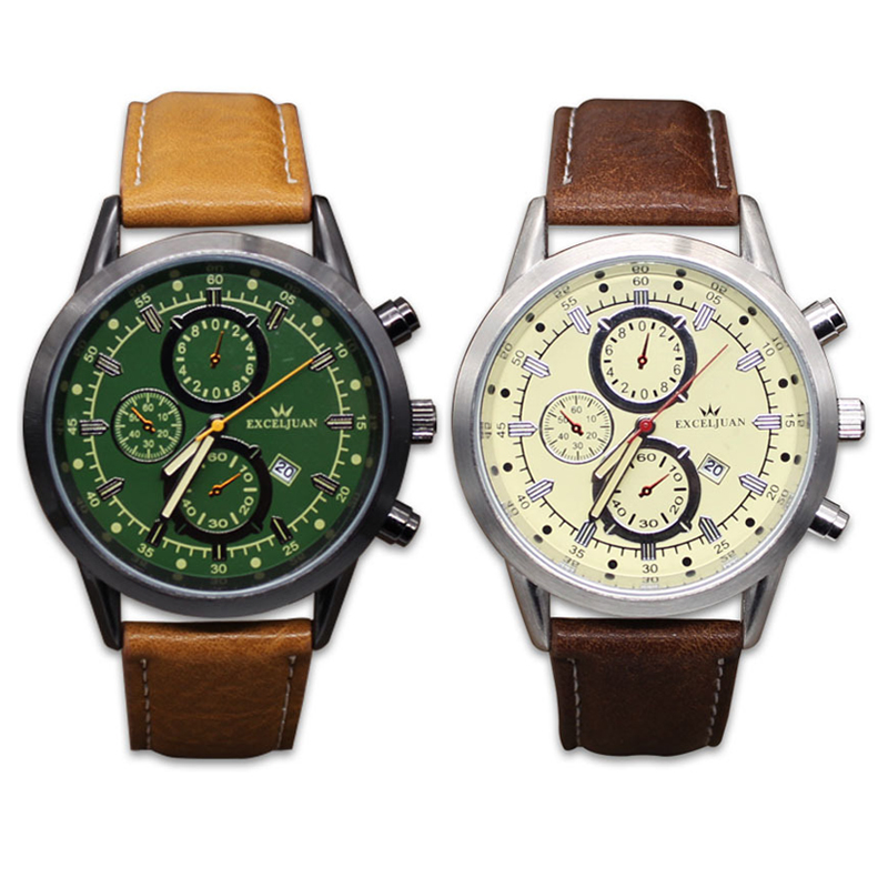 Fashion Men Army Watch Chronograph Male Sport Leather Strap Quartz Wristwatches Casual Waterproof Date Watches Relogio Masculino