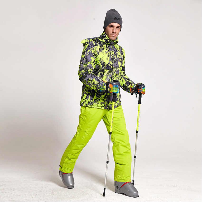 新しい冬スキースーツ男性セット防風防水暖かいスキースノーボードスーツセット男性屋外ホットスキージャケット + パンツ 332wy