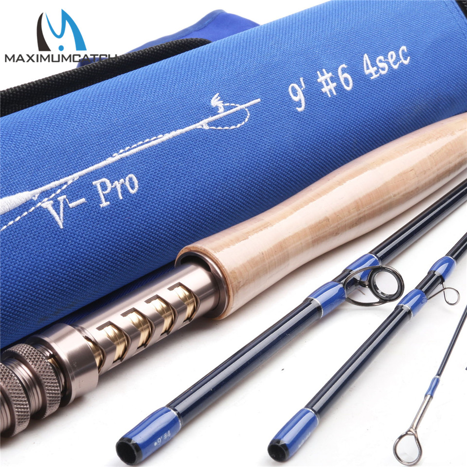 Maximumcatch V-Pro 4/5/6/8wt Fly Fishing Rod 36T SK Carbon Fiber 9FT 4Pcs Fast Action Fly Rod With Cordura Rod Tube maximumcatch top grade 4wt 5wt 6wt 7wt 8wt fly rod 9ft carbon fiber fast action black star fly fishing rod with cordura tube