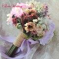 Ручной Фиолетовый Невесты Свадебный Букет Шелковые Цветы с Лентой Свадебные Букеты Рамос Де Novia Искусственный Бесплатная Доставка CH02
