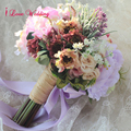 Handmade Purple Bride Wedding Bouquet Silk Flowers with Ribbon Bridal Bouquets Ramos De Novia Artificial Free Shipping CH02