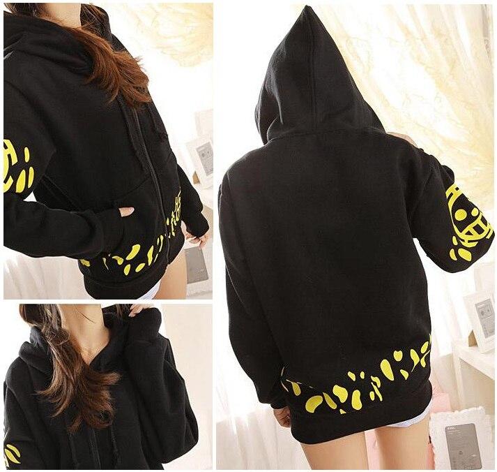 US $16.29 |Frauen lose hoodies mädchen Japanischen Anime Trafalgar Law Jacken schwarz fashion hooded zipper Hoodie Mäntel hoodies mit kappe frauen in