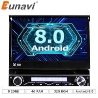 Eunavi 4G RAM 1 Din Android 8.0 Octa 8 Core Car DVD Player For Universal GPS Navigation Stereo Radio WIFI MP3 Bluetooth USB SWC