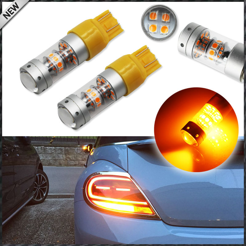 2pcs Amber Yellow 7440 7441 7443 7444 T20 LED Replacement Bulbs For Turn Signal Lights, Daytime Running Lights, Driving Light ijdm amber yellow error free bau15s 7507 py21w 1156py xbd led bulbs for front turn signal lights bau15s led 12v