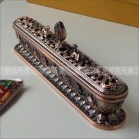 Tibetan incense burner, Length 32cm antique metal censer. Strong and durable,Imitation red copper incensory