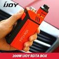 Original ijoy rdta caja 200 w kit 12.8 ml e-jugo capacidad cigarrillo electrónico kit ni/ti/ss con imc cubierta de la construcción en la acción
