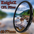 KnightX מקטב 49 ממ 52 ממ 58 ממ 67 ממ 77 ממ cpl מסנן עבור Canon 650D 550D Nikon Sony עדשת עדשות המצלמה SLR DSLR d5200 d3300