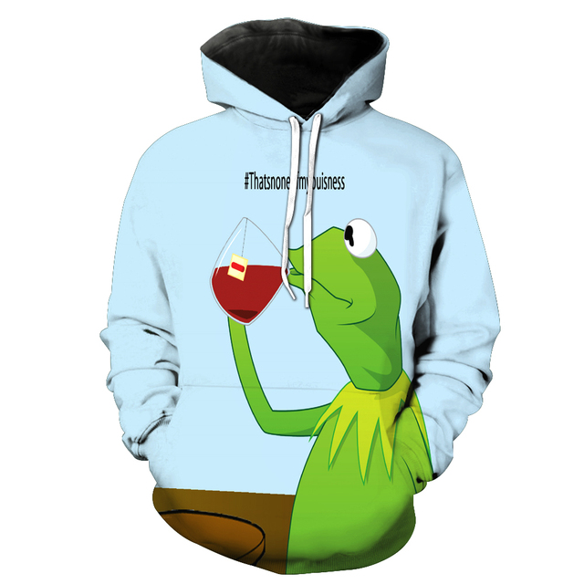 2018 New Fashion Mens Sweatshirt Pepe The Frog Print Hoodies Casual