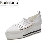 KarinLuna Brand Design Top Quality Genuine Leather Flats Platform Shoes Women Fashion Spring Black White Leisure