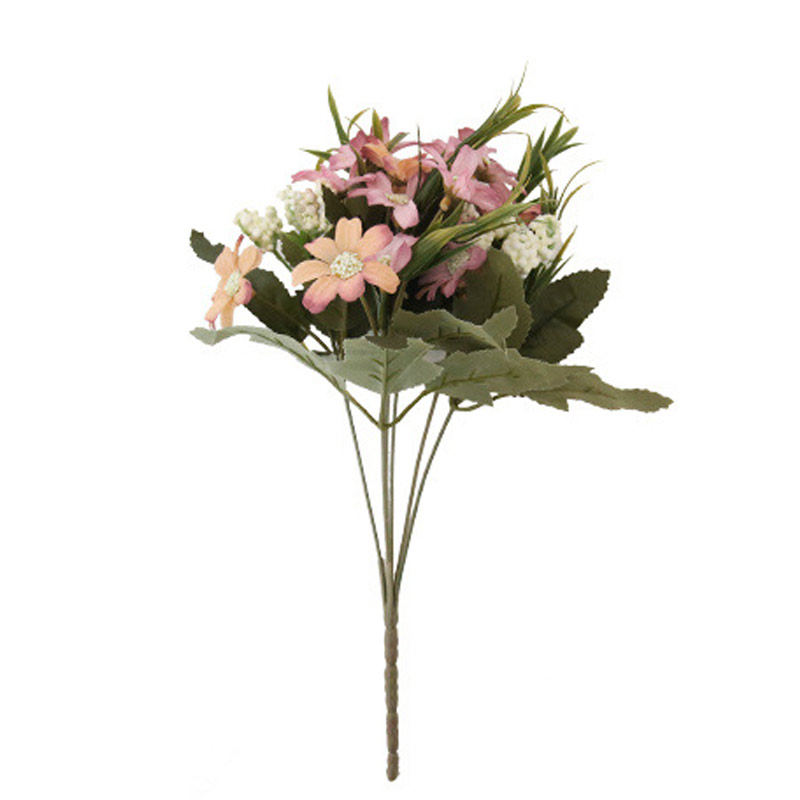 Artificial Opening French Rose Floral Bouquet Fake Flower Arrange Table Daisy Wedding Flowers Decor Party accessory Flores XHC88