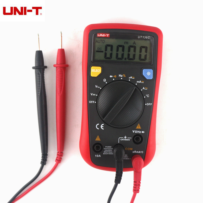 UNI-T UT136C Digital Multimeter Auto Range Thermometer Tester AC/DC LCD Ammeter Voltmeter Current Freq Ohm + Test Lead Probe
