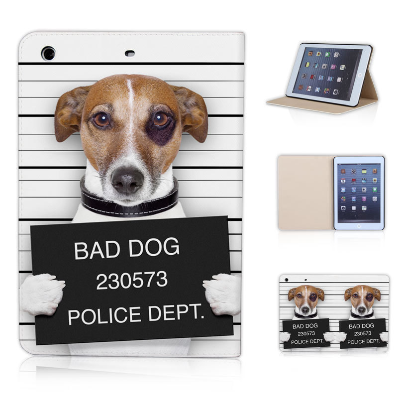 Btd P019 Ip Mini Prison Dog Bad Cool Funny Tablet Cover For Ipad 1 2 3 Criminal Canine Magnetic Case With Sleep Wake Up In Tablets E Books From