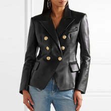 blazer feminino/Newest Fall Winter 2018 Designer Blazer Jacket Women's Lion Metal Buttons Faux Leather Blazer Outer Coat/jacket(China)