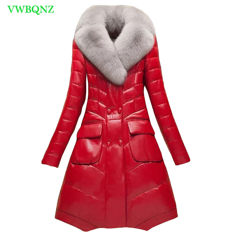 Winter Women Pu   Leather   Jacket Korean Long Thicken Warm Down cotton Coat Women's Plus size Faux fox fur collar Jacket Coats A789