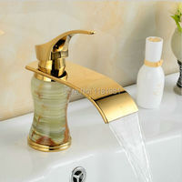 Gold plated luxury single hole green body made in natural jades bathroom waterfall basin faucets 1012