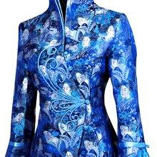 Большая скидка! Синяя Новая китайская женская шелковая атласная куртка ручной работы с застежкой на катушке, пальто Peri размера плюс M-4XL