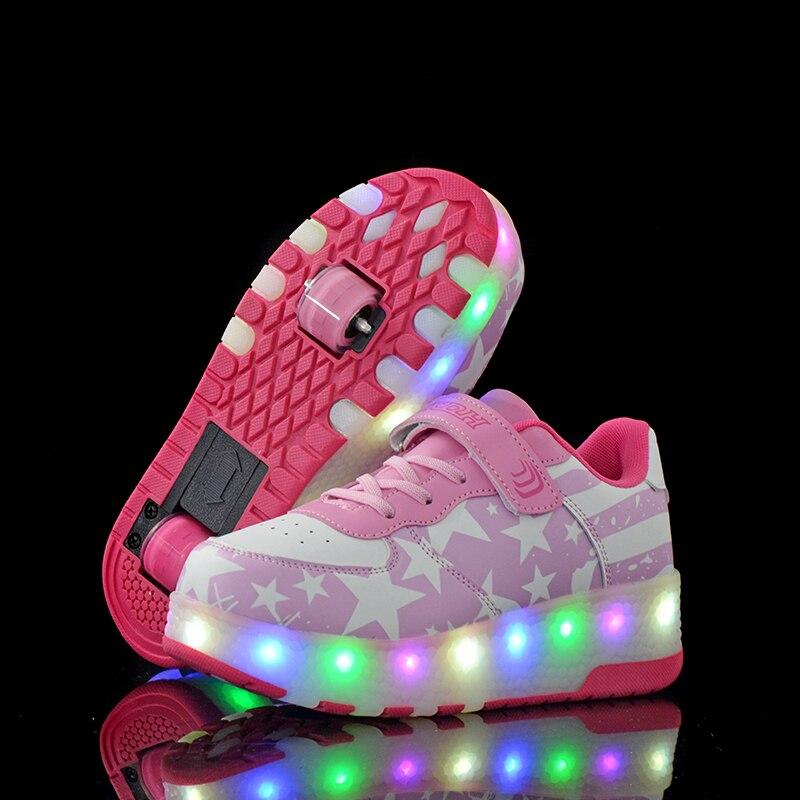 Offre spéciale enfants garçons chaussures avec deux roues enfants chaussures brillant baskets lumière LED up enfants chaussures pour garçon fille brillant chaussure