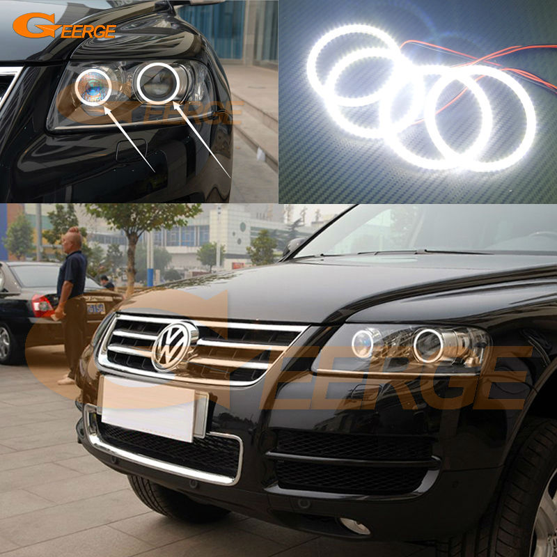 For Volkswagen VW TOUAREG 2004 2005 2006 2007 XENON HEADLIGHT Excellent led angel eyes Ultra bright smd led Angel Eyes kit led headlight lights angel eyes