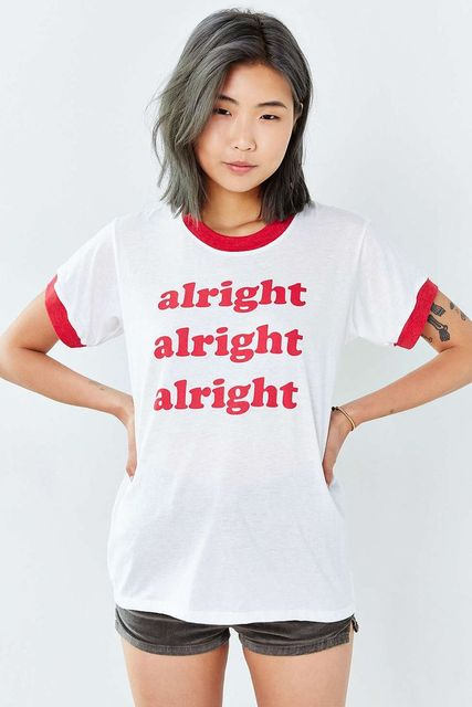 16fe2d82 alright alright Tumblr Shirts Women men cotton Ringer Tee Red Letter Print  Graphic t shirt fashion