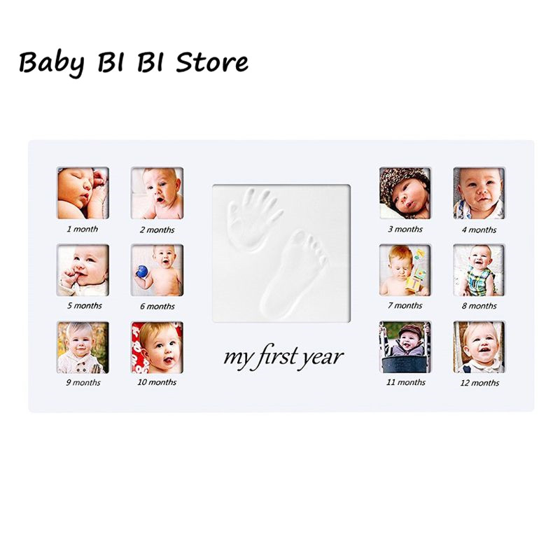 Newborn Hand And Foot Prints Print Mud Photo Frame One Year Old Baby Infants Photos DIY Gifts Commemorative Photography
