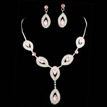 2016 New hot sell rhinestone wedding jewelry sets bridal party jewelry gift sets pink necklace and earrings high quality 100%