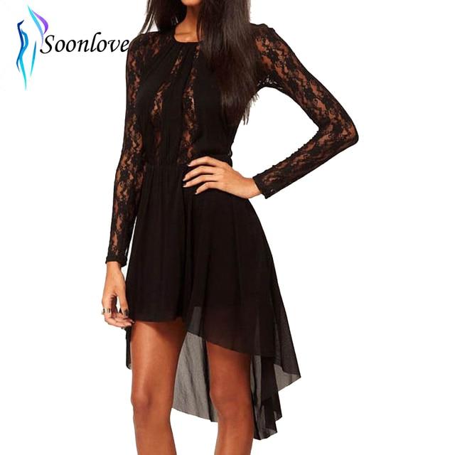 Sexy Black Cocktail Long Sleeve Sheer Chiffon Lace Women Dress High