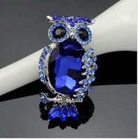 Hot sale vintage blue austria crystal animal owl brooch pin/Korean luxury jewelry women accessories wholesale/broches