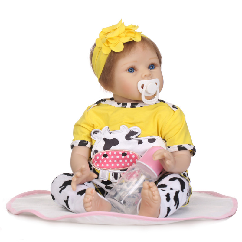"Здесь продается  New Hot Sale 22"" Kawaii Reborn Silicone Doll 55cm Handmade Full Plastic Simulation Baby Doll with Mohair Hair Toys for Girl Gift  Игрушки и Хобби"