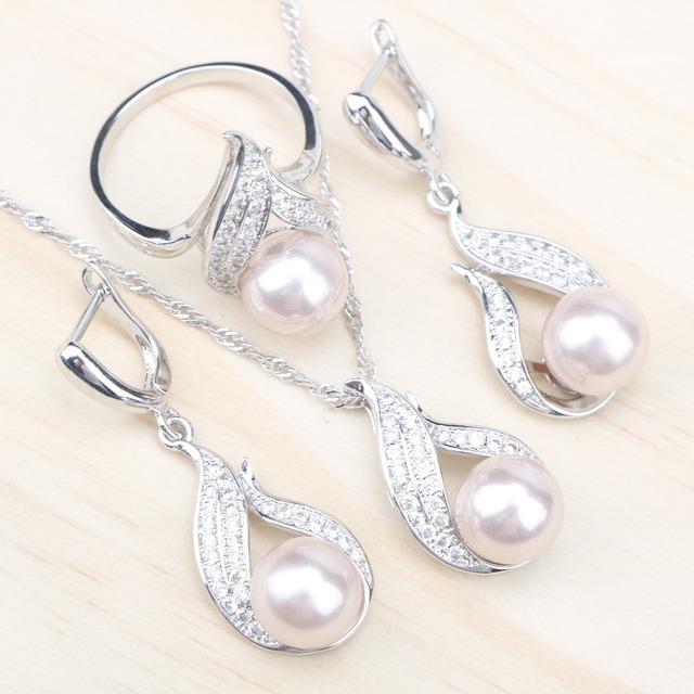 Sølv brude smykker sett kvinner hvit zirkon øredobber med steiner anheng & kjede / Rings
