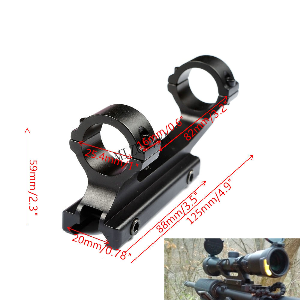 MIZUGIWA Tactical Heavy Duty Cantilever Scope Mount 25.4mm Dual Rings 20mm Picatinny Rail Weaver Adapter Rifle Hunting Caza