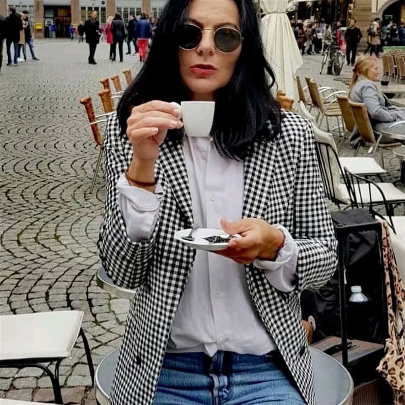 Women Elegant Black White Plaid Blazer Jacket Three Quarter Sleeve Pocket Decoration Office Wear Female Outerwear Chic Tops