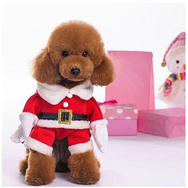 Santa Claus perros disfraz Navidad mascota vestir productos con sombrero  cachorro perros gatos suministros Outwear ropa Rojo Negro cinturón abrigos  en ... 4cebca03ebf