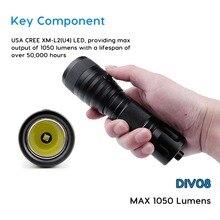 Brinyte DIV08 High Powered Underwater Flashlight CREE XM-L2(U4) LED Underwater Brightest Dive Lights Flashlight Torch