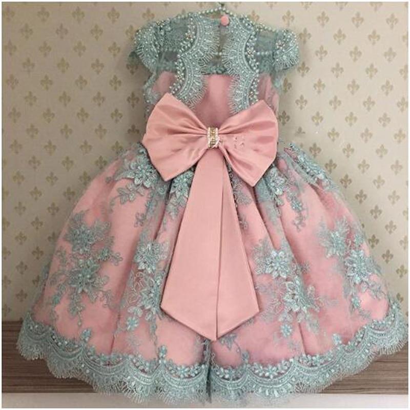 فاخر أميرة اللؤلؤ يزين الوردي الأزرق زهرة فتاة فستان طويل فساتين مهرجان للأطفال فساتين بالتواصل الاطفال ثياب السهرة