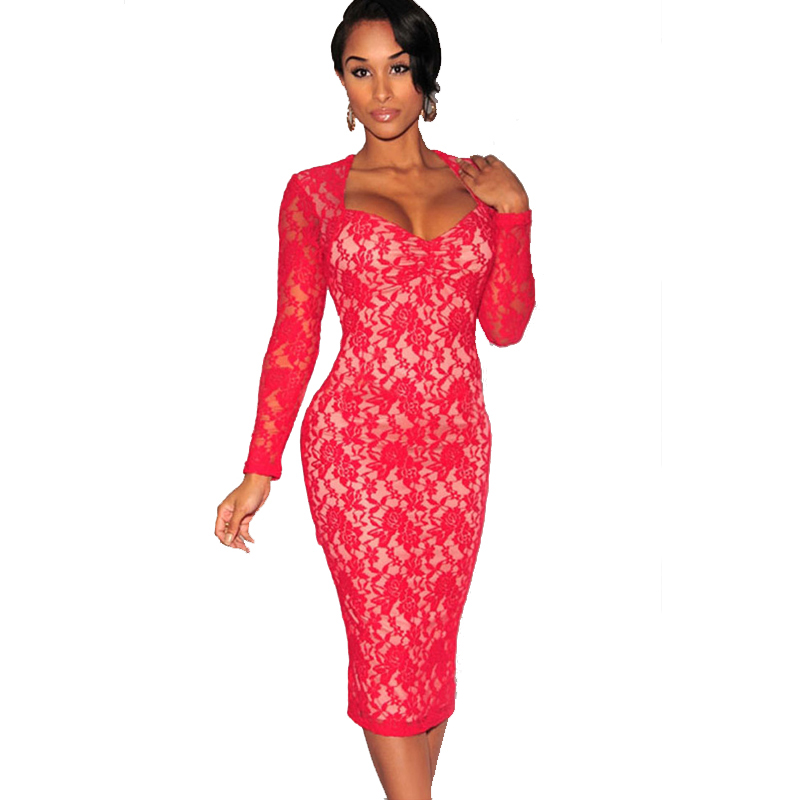 Olrain Women s Sexy Backless Cut out Lace Midi Dress Party Pencil Evening  Club Bodycon Dress-in Dresses from Women s Clothing on Aliexpress.com  b294b1820a4c