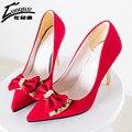 Moda Tacones Altos Mujeres Bombas 2017 Zapatos de Boda de Las Mujeres Delgadas Clásicas Bombas Sexy ladies Zapatos de tacón Partido Bowtie Mujer Negro rojo