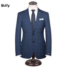 Nach Maß männer Hochzeit Anzüge Bräutigam Smoking Jacke + Hose + Tie Formal Anzüge Geschäfts Kausalen Slim Navy Plaid benutzerdefinierte Anzug Plus Größe