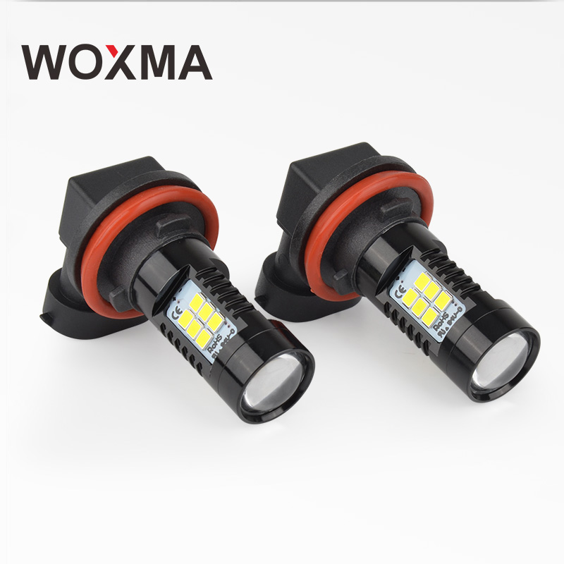 цена на WOXMA H11 LED 12V HB3 HB4 9005 9006 Car Fog Light Bulb DRL Lamp H8 H9 H10 Led for Car styling 21 SMD Chip Daytime Running