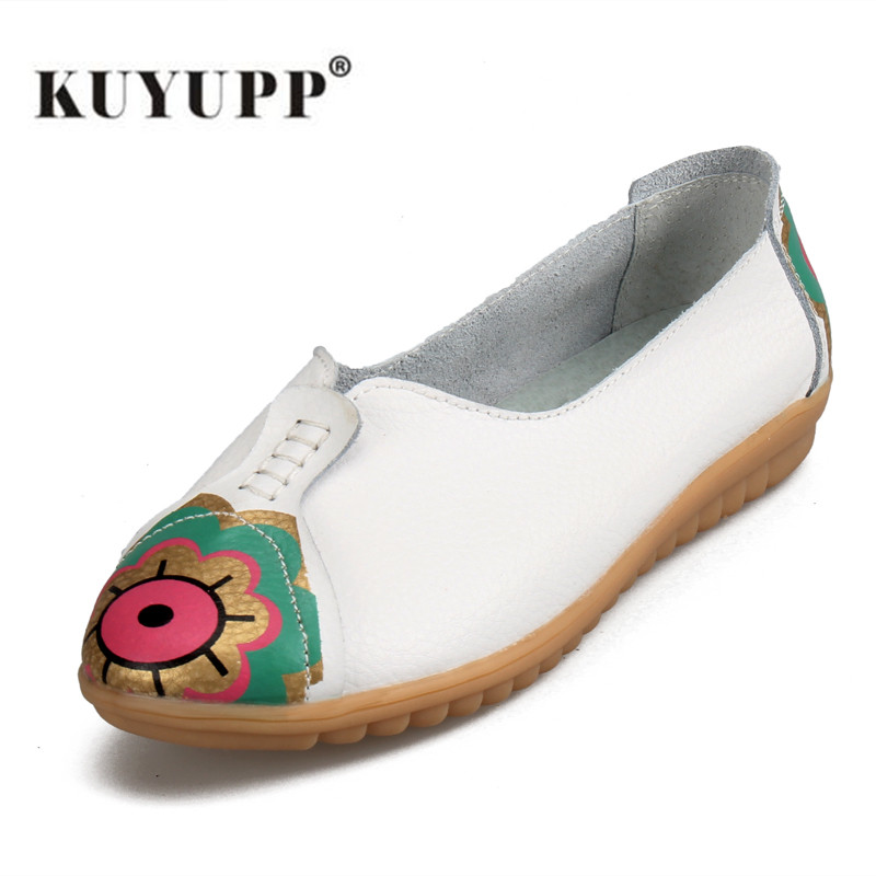 KUYUPP Women Flats Shoes New Ladies Casual Slip-on Ballerinas Flats Fashion Patchwork Flowers Round Toe Women's Ballet Flat S210 beyarne hot sale new fashion spring women flats shoes ladies bow pointed toe slip on flat women s shoes free shipping size34 40