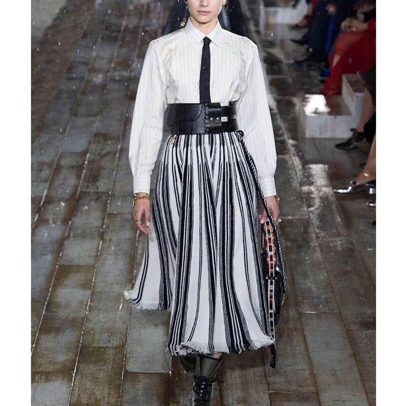 Cosmicchic 2019 SS Runway Frauen Lange Rock Balck Weiß Striped Hohe Taille Große anhänger Quaste Maxi Rock-in Röcke aus Damenbekleidung bei  Gruppe 1