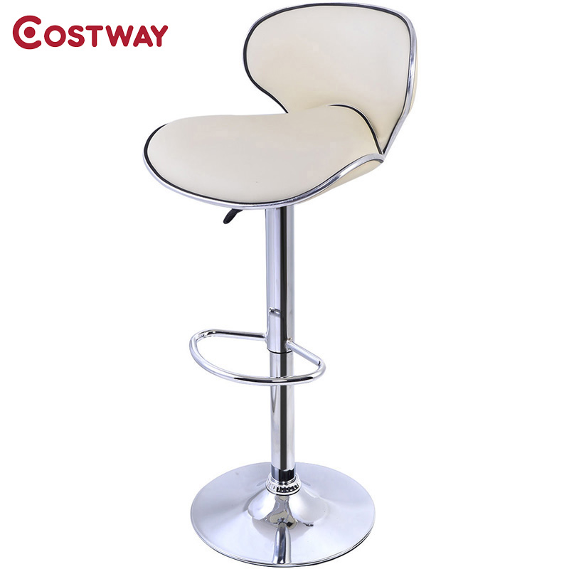 COSTWAY PU Leather Modern Adjustable Bar Stool Swivel Chair Bar Stool Commercial Furniture Bar Tool HW50135BE