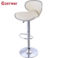 COSTWAY PU Leather Modern Adjustable Bar Stool Swivel Chair Bar Stool Commercial Furniture Bar Tool HW50135BE