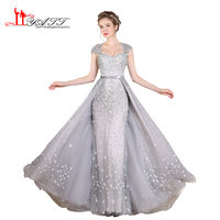 2017 Luxury Light Grey Sexy Heavy Beading Pearls Crystal Vintage Arabic Evening Prom Dresses Formal Long
