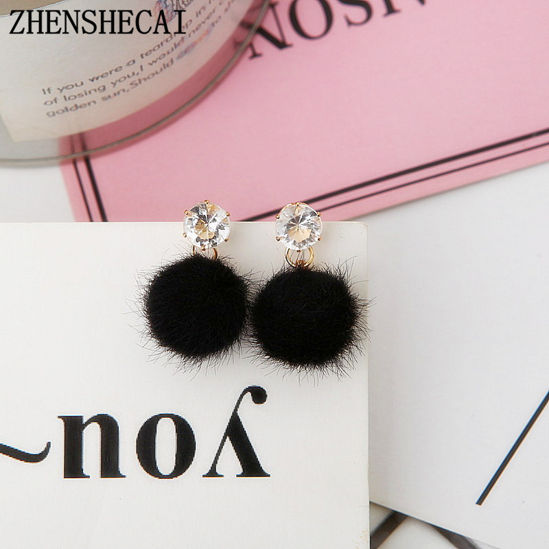 5 Colors 2017 Most Popular Pompom Balls Cute Enamel Long Tassel Drop Earrings Women Rhinestones Brincos Accessories E0358